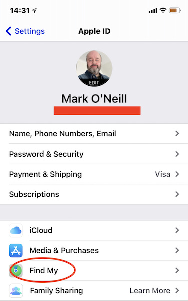 iOS Apple ID screen with Find My feature highlighted