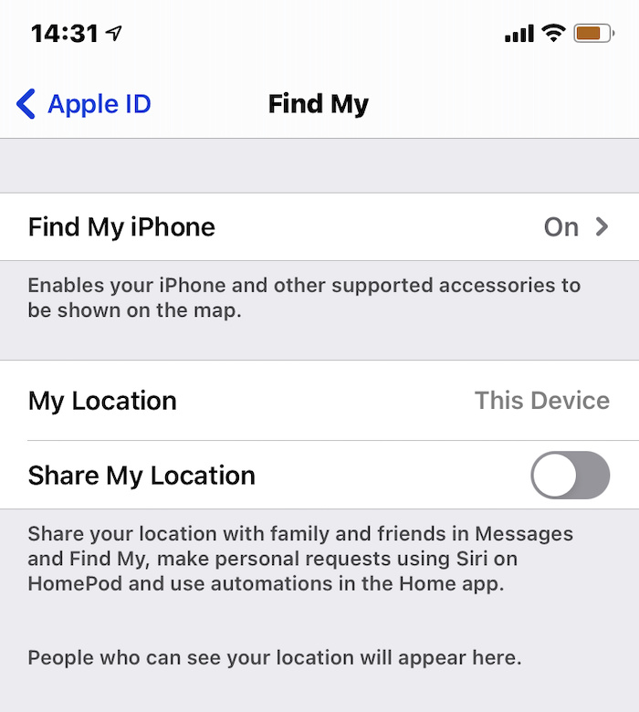 switch on Find My in iOS settings