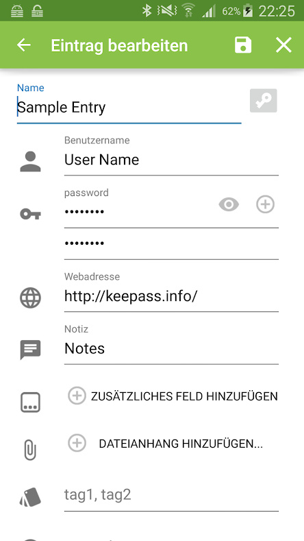 keepass2android password entry modification page