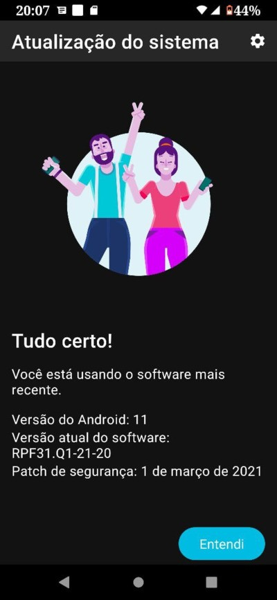 Motorola One Hyper Android 11 about