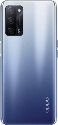 OPPO A53 5G in Crystal Blue colorway on white background