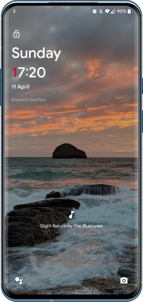OnePlus 7T displaying currently playing track on the lock screen using Ambient Music mod