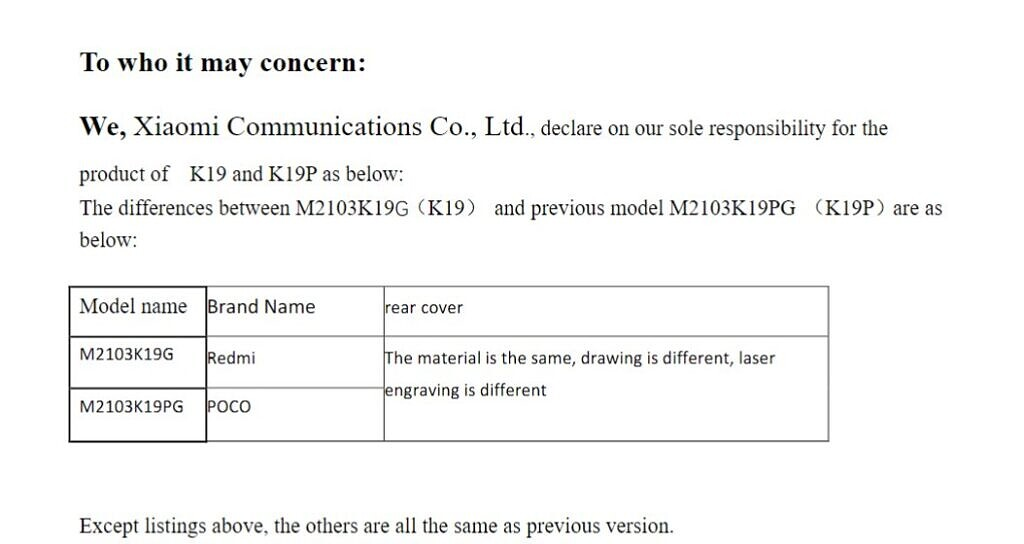 FCC listing showing model names for Redmi Note 10 5G and POCO M3 Pro 5G