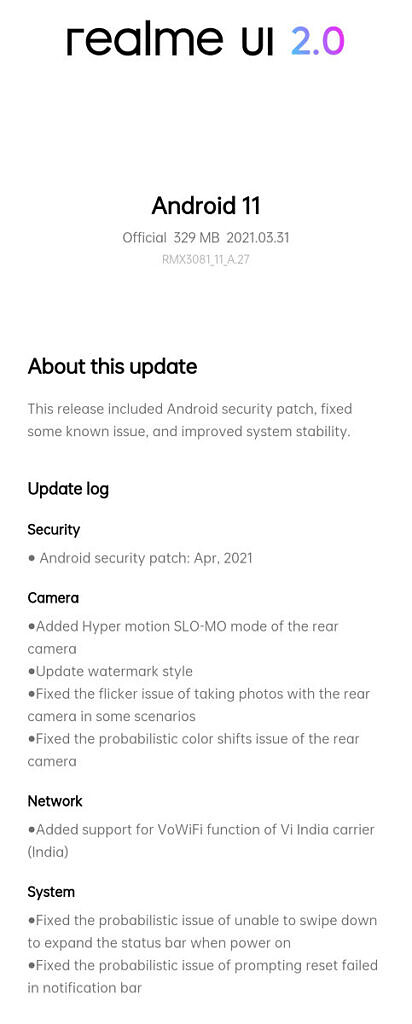 Realme 8 Pro UI 2.0 April security patches update