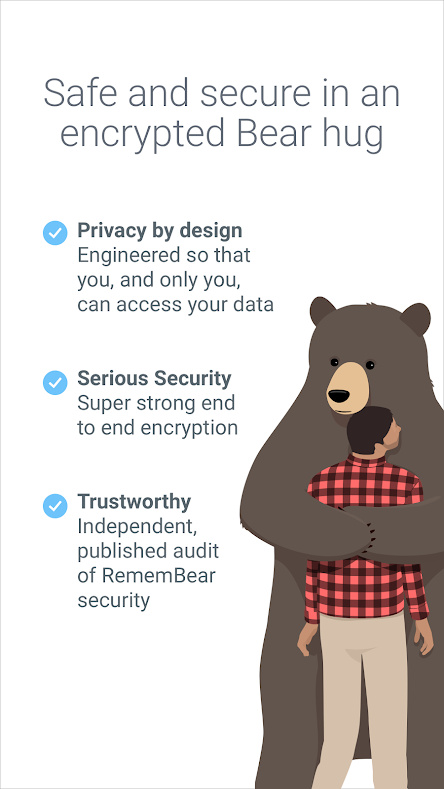 RememBear feature list for privacy