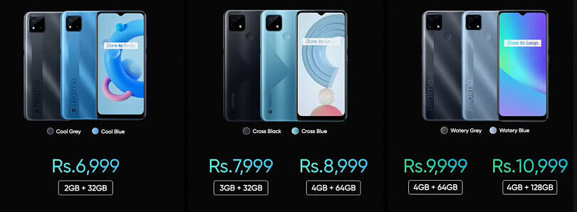 Realme refreshes its entry-level lineup in India with Realme C25, C21, and C20