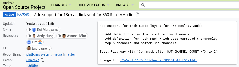 """""""Add support for 13ch audio layout for 360 Reality Audio - Add definitions for the front bottom channels. - Add definition for 13ch mask which uses surround 5 channels, top 5 channels and bottom 3ch channels. Test: Play wav with 13ch mask after OUT_CHANNEL_COUNT_MAX to 24 Change-Id: I2a620fb1175c6576bead7878315fc48ff5171ddf"""""""