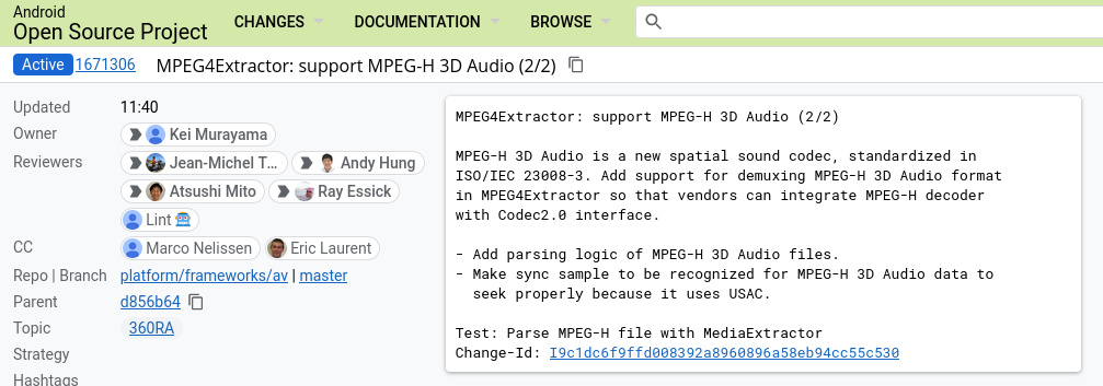 """""""MPEG4Extractor: support MPEG-H 3D Audio (2/2) MPEG-H 3D Audio is a new spatial sound codec, standardized in ISO/IEC 23008-3. Add support for demuxing MPEG-H 3D Audio format in MPEG4Extractor so that vendors can integrate MPEG-H decoder with Codec2.0 interface. - Add parsing logic of MPEG-H 3D Audio files. - Make sync sample to be recognized for MPEG-H 3D Audio data to seek properly because it uses USAC. Test: Parse MPEG-H file with MediaExtractor Change-Id: I9c1dc6f9ffd008392a8960896a58eb94cc55c530"""""""