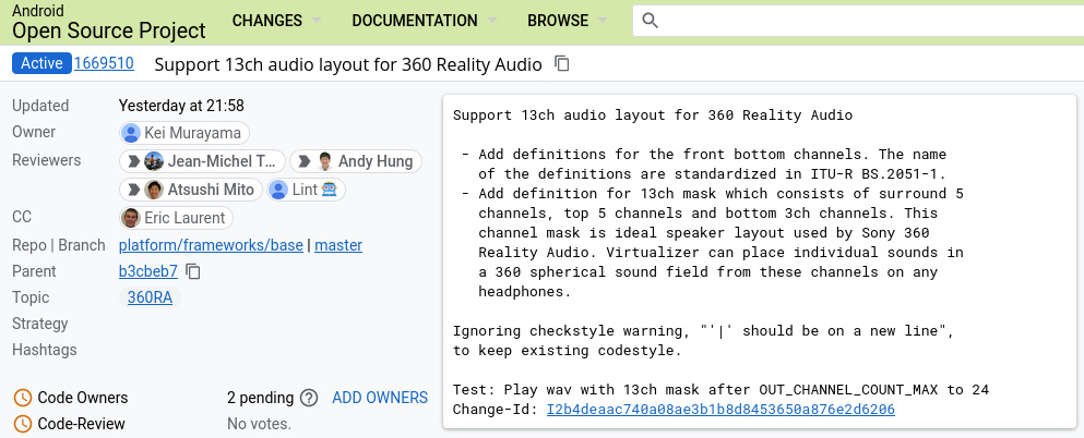 """""""Support 13ch audio layout for 360 Reality Audio - Add definitions for the front bottom channels. The name of the definitions are standardized in ITU-R BS.2051-1. - Add definition for 13ch mask which consists of surround 5 channels, top 5 channels and bottom 3ch channels. This channel mask is ideal speaker layout used by Sony 360 Reality Audio. Virtualizer can place individual sounds in a 360 spherical sound field from these channels on any headphones. Ignoring checkstyle warning, """"'