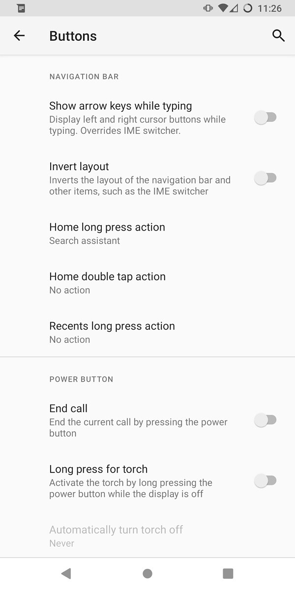 LineageOS 18.1 button settings