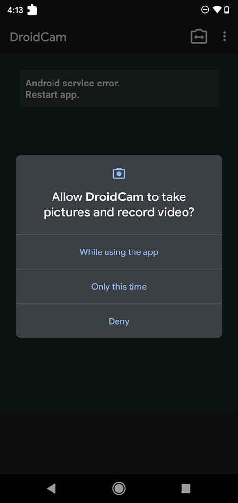 DroidCam Android app asking for video recording permission