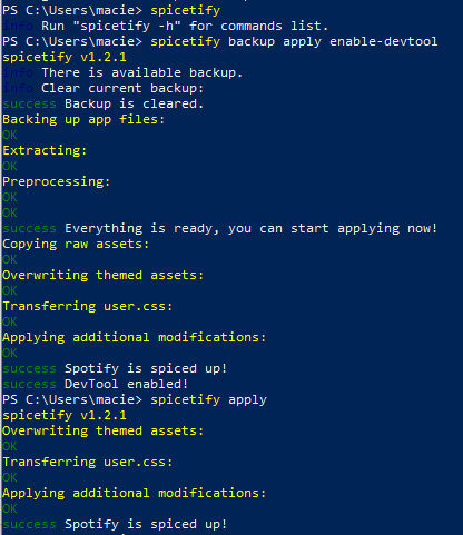Installing and configuring Spicetify in the WIndows PowerShell