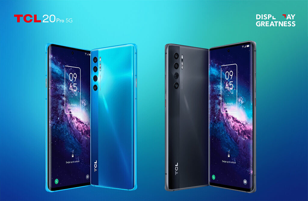 TCL 20 Pro 5G shown in two colors