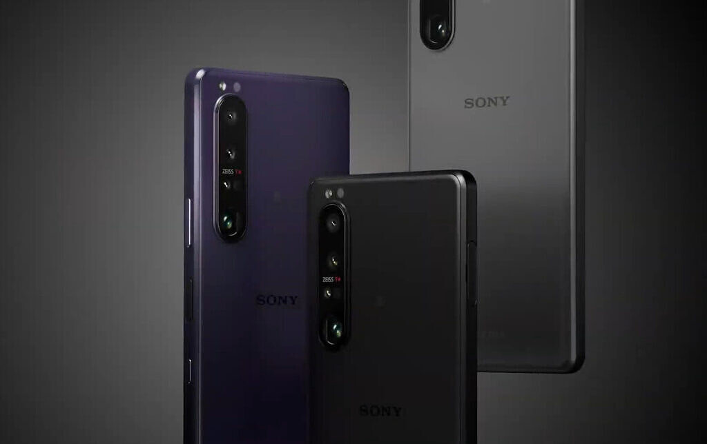 Xperia 1 III shown in black, purple and grey colors