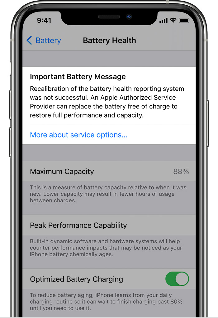 ios 14.5-iphone11-pro-settings-battery-battery-health-recalibration-not-successful