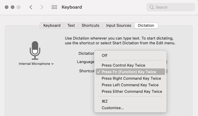 mac voice dictation keyboard shortcut