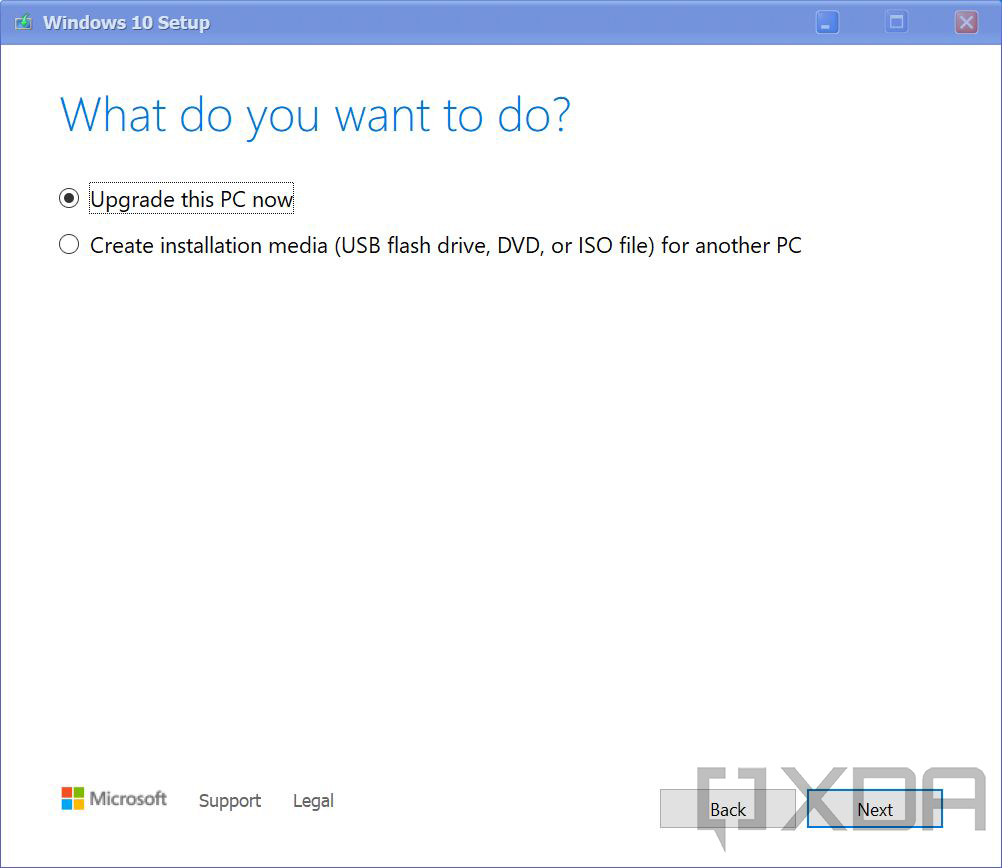 Dialog to upgrade PC now or create installation media
