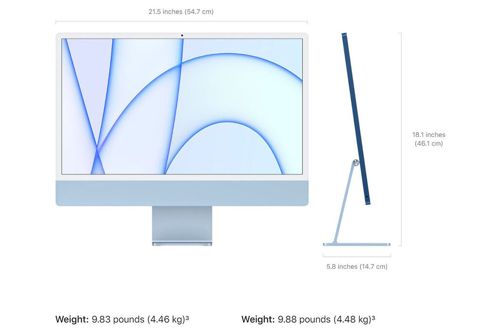 24-inch iMac showing dimensions