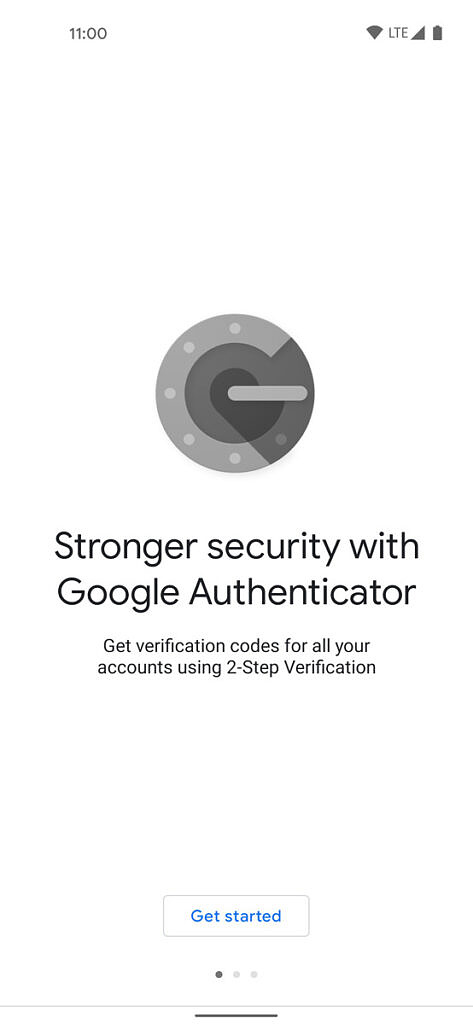 Google Authenticator introduction screen on new phone