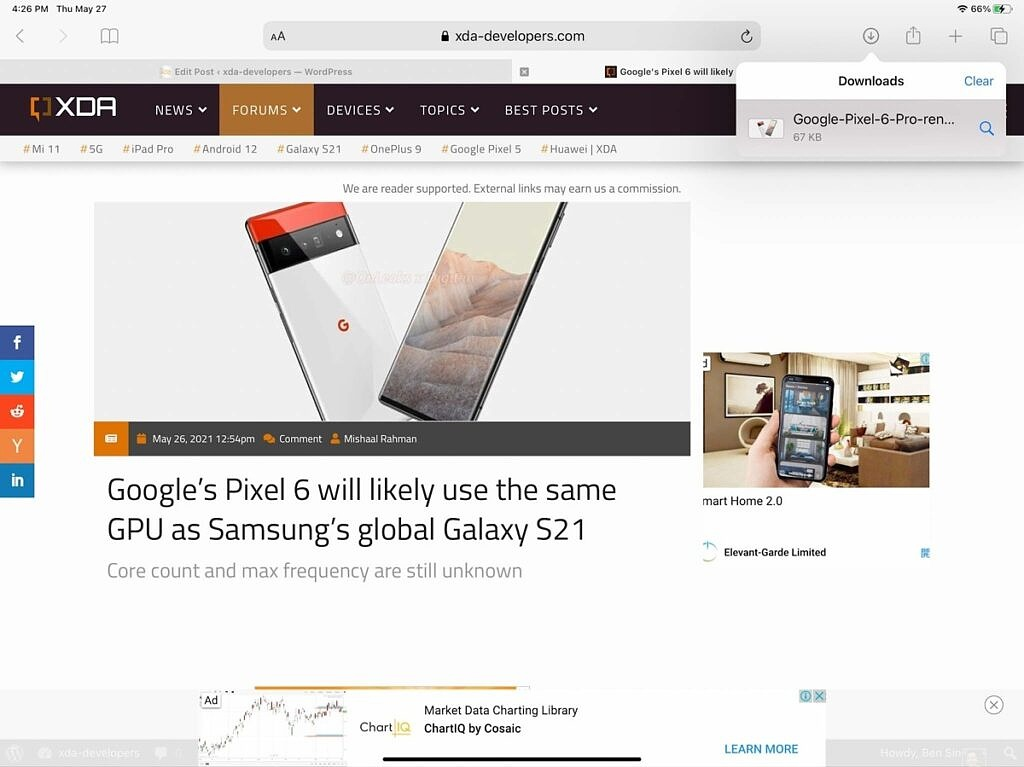 A screenshot of iPadOS as it downloads an image from XDA Developers' website.