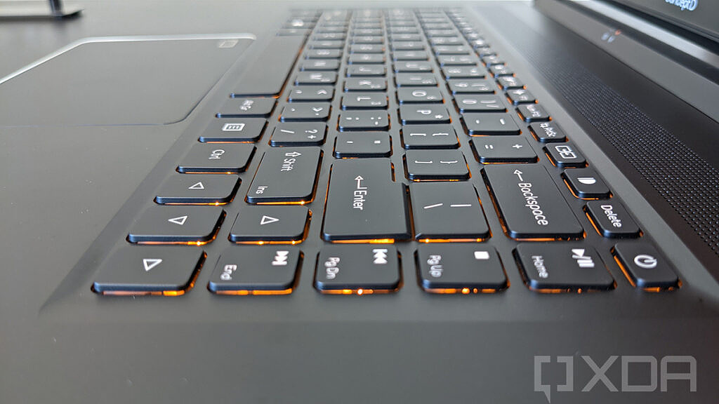 Angled view of Acer ConceptD 5 keyboard