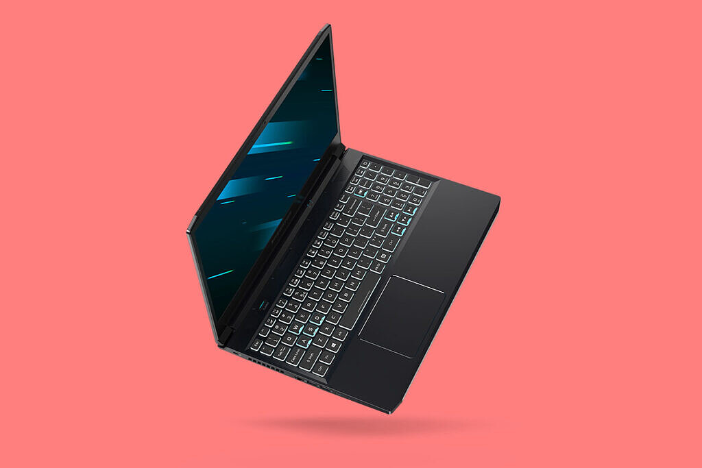 Acer Predator Triton 300 on its side on peach background