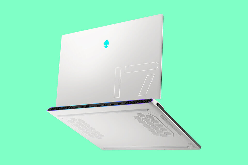 Alienware x17 laptop in white with green background