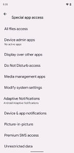 Special app access page on Android 12