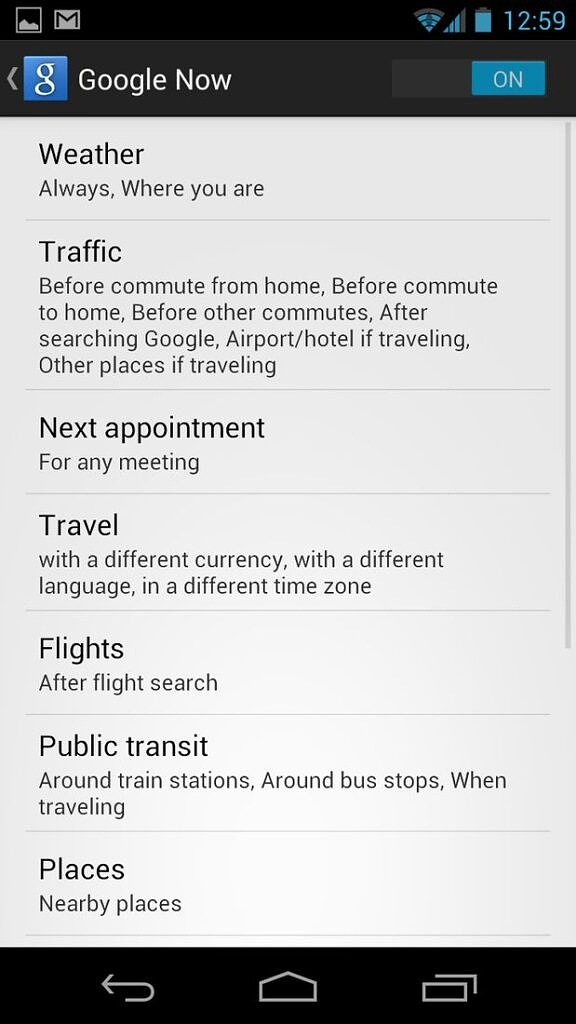 Android 4.1 Jellybean Google Now screen