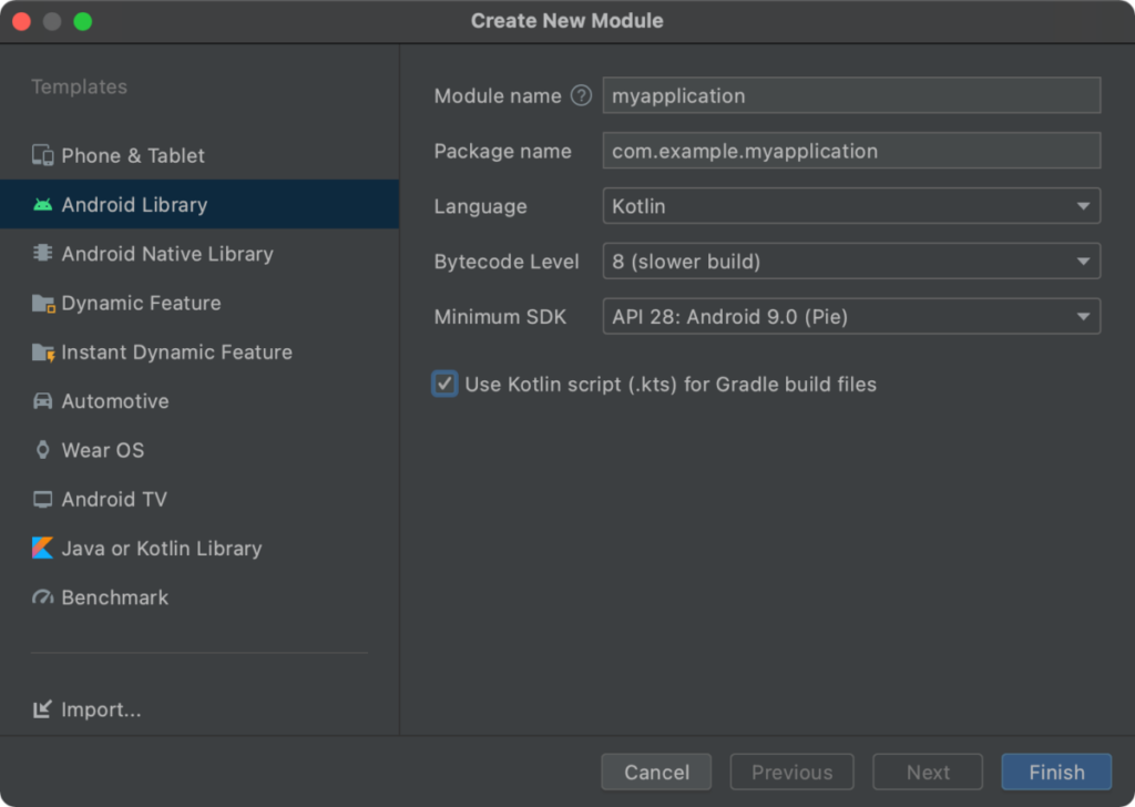 Updated New Module Wizard in Android Studio 4.2
