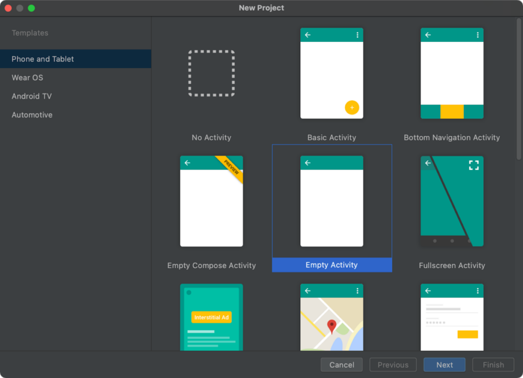 Updated New Project Wizard in Android Studio 4.2