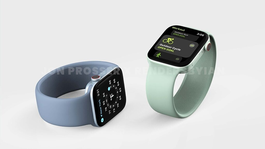 Leaked render of the Apple Watch Series 7 with green and blue straps
