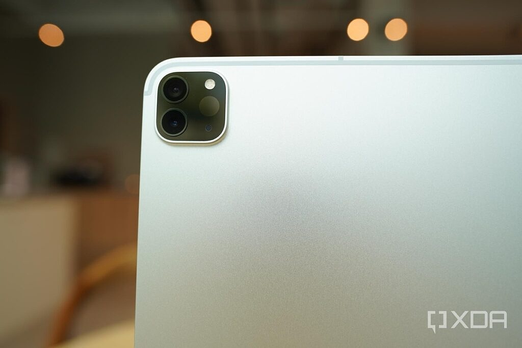 A close-up of the camera bump on the 2021 Apple iPad Pro