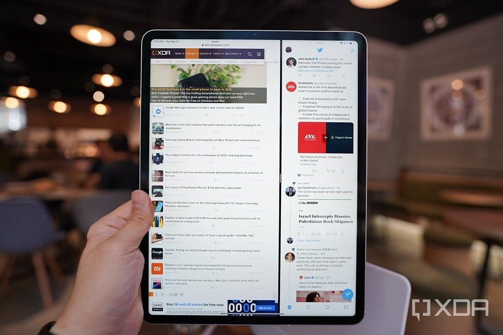 iPad Pro with M1 in portrait orientation running two apps at the same time.