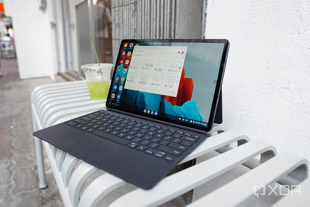 the Galaxy Tab S7+ on a bench