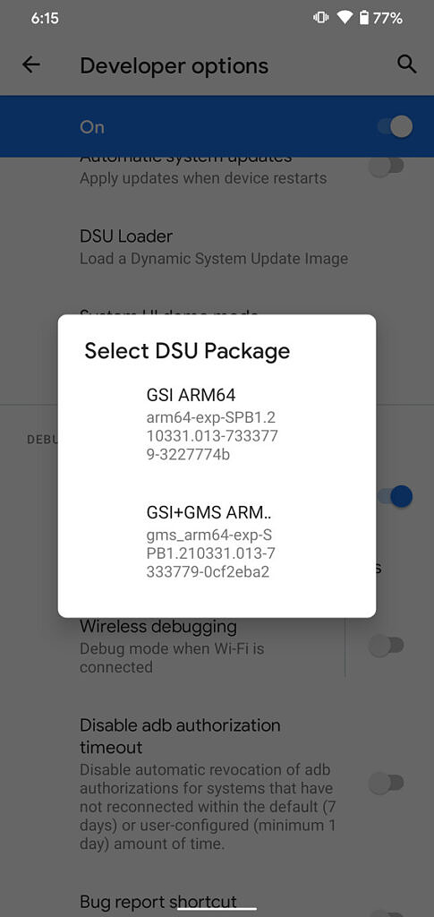 DSU Loader in Android 11's developer options