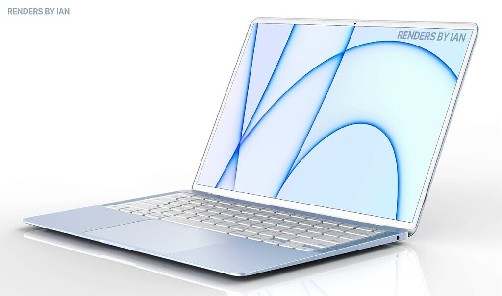 MacBook Air concept showing PC in blue