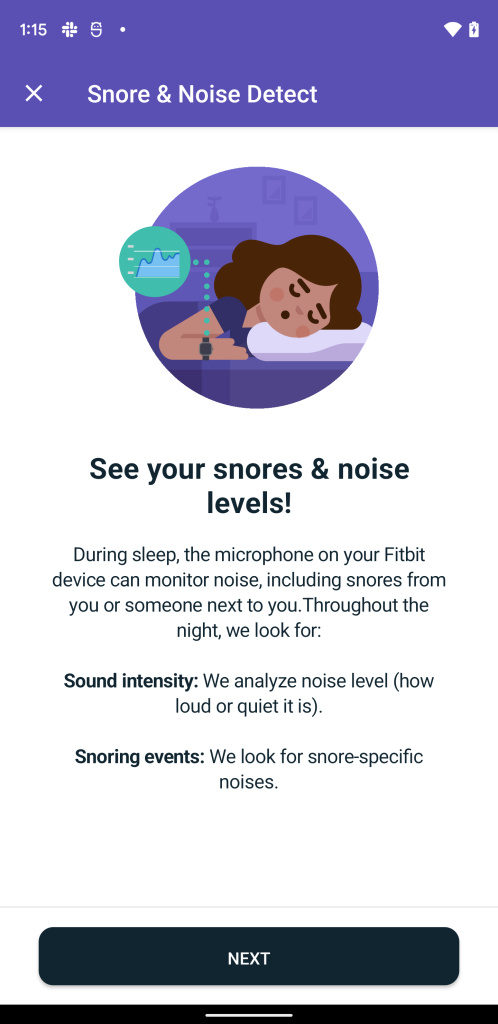 Snore & Noise Detect feature in Fitbit