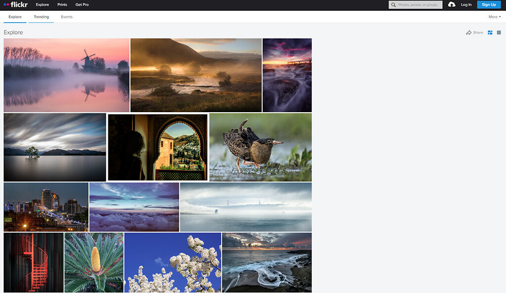 Flickr explore page with a few photos