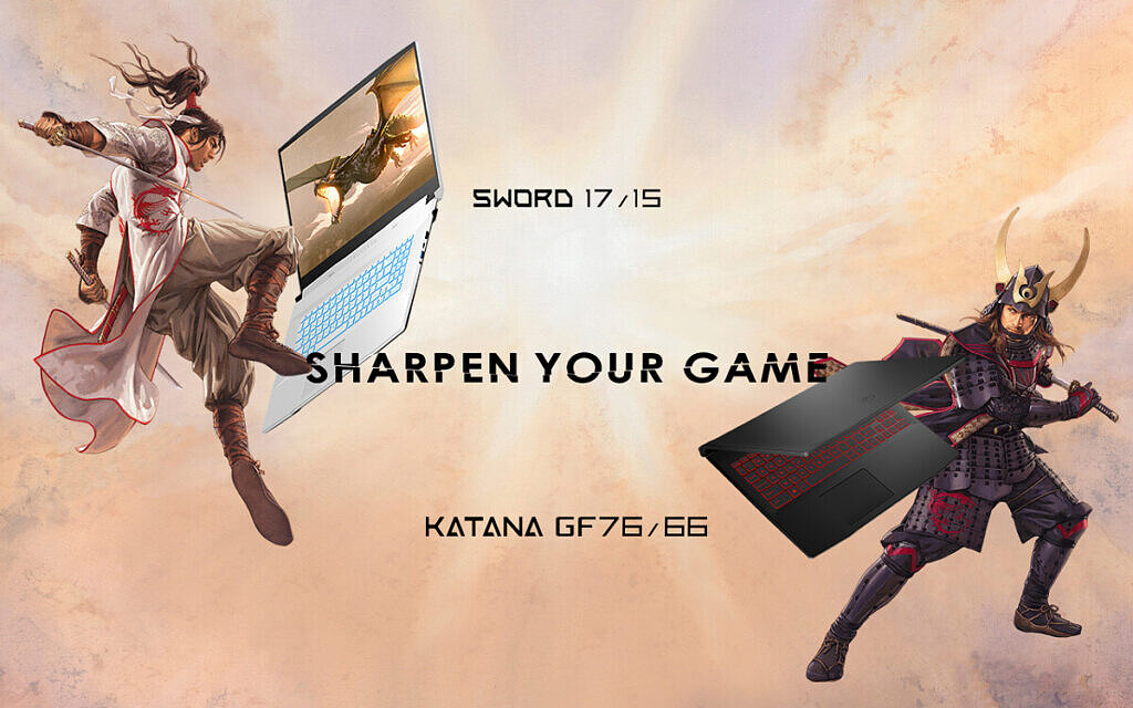 MSI Sword and Katana laptops with animated background