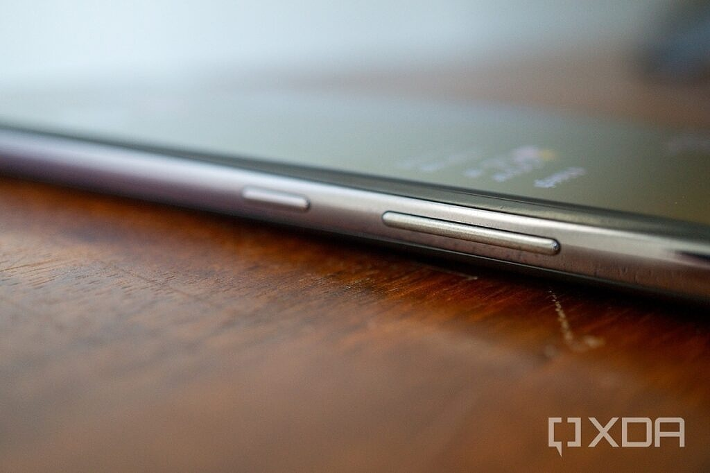Side of the Galaxy A52 5G, showing the power and volume buttons