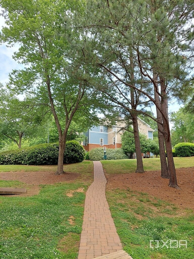 Photo of a brick path going up a grassy hill