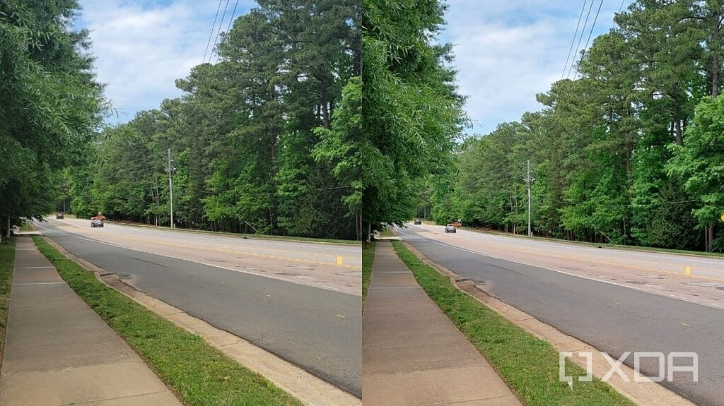 Side by side comparison photo between Galaxy A52 and Galaxy S21