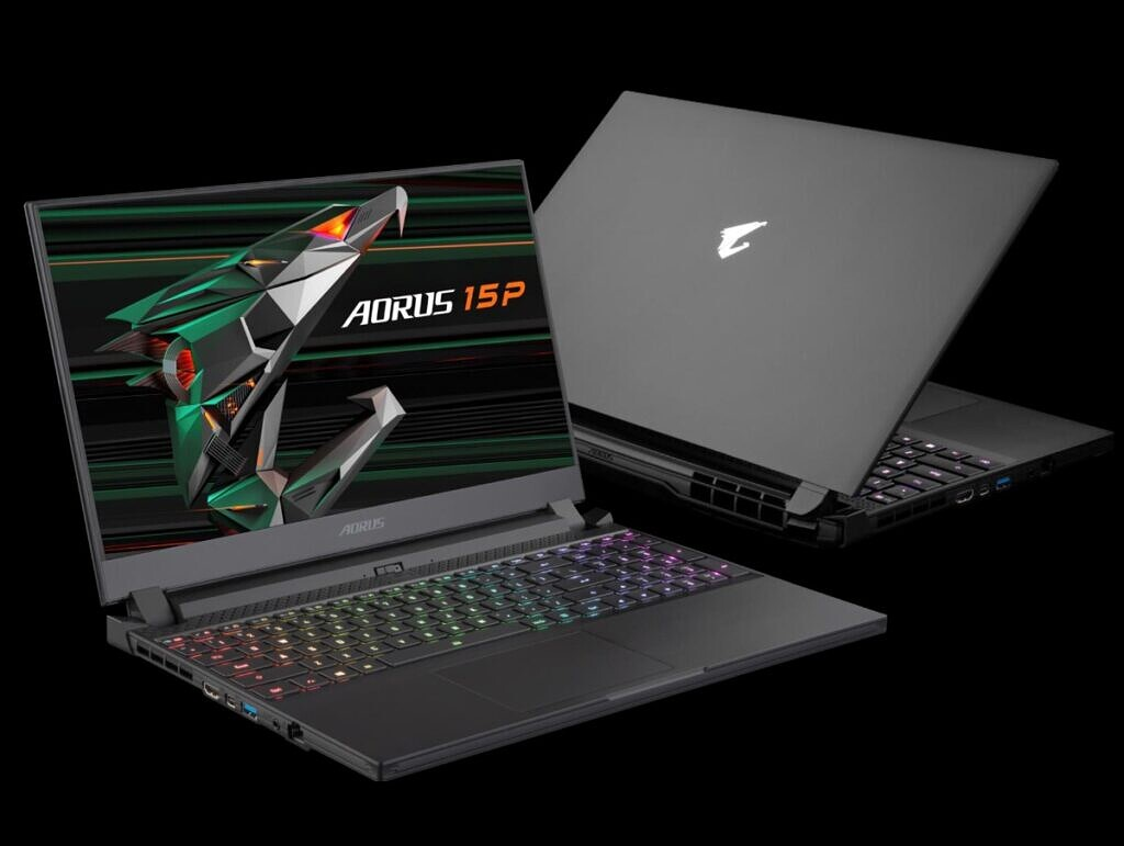 Gigabyte AORUS 15P front and back on black background