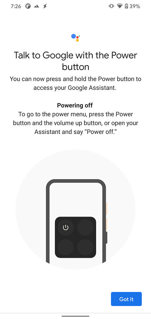 Google App talk to Google Assistant with power button