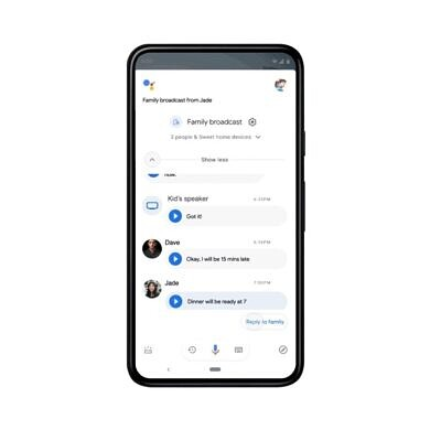 Google Assistant Broadcasts now ping your family members' phones