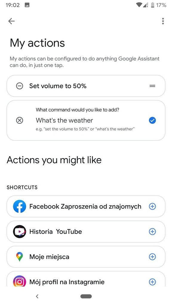 Google Assistant My Actions settings screen