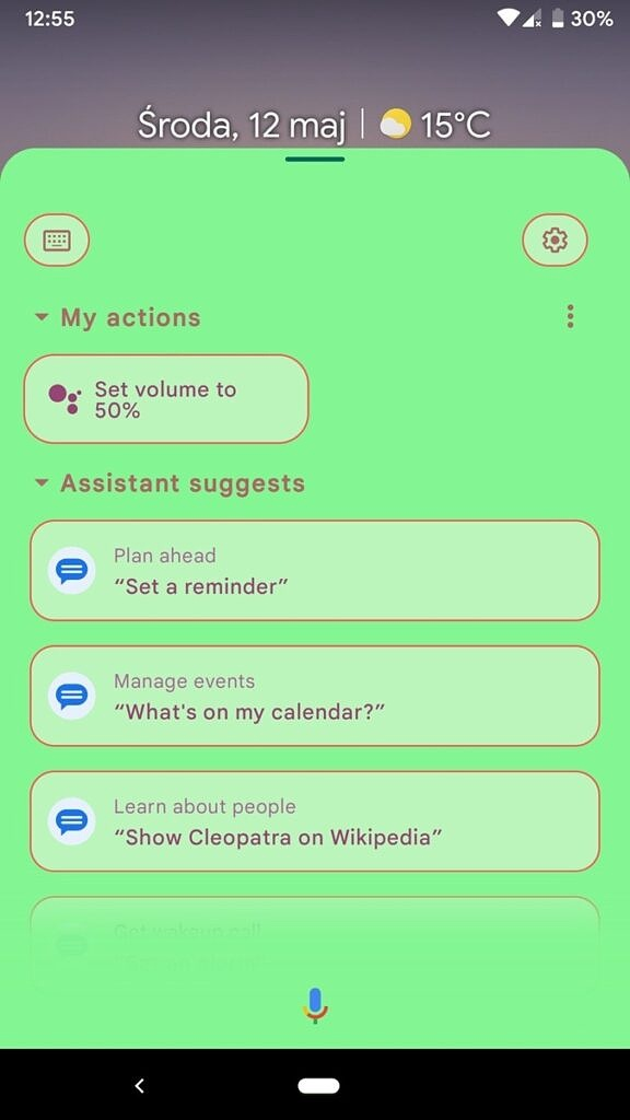 Google Assistant expanded view with green background