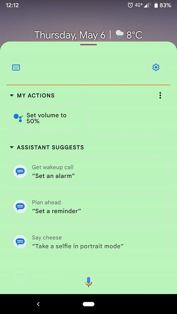 Google Assistant expanded view with light green background