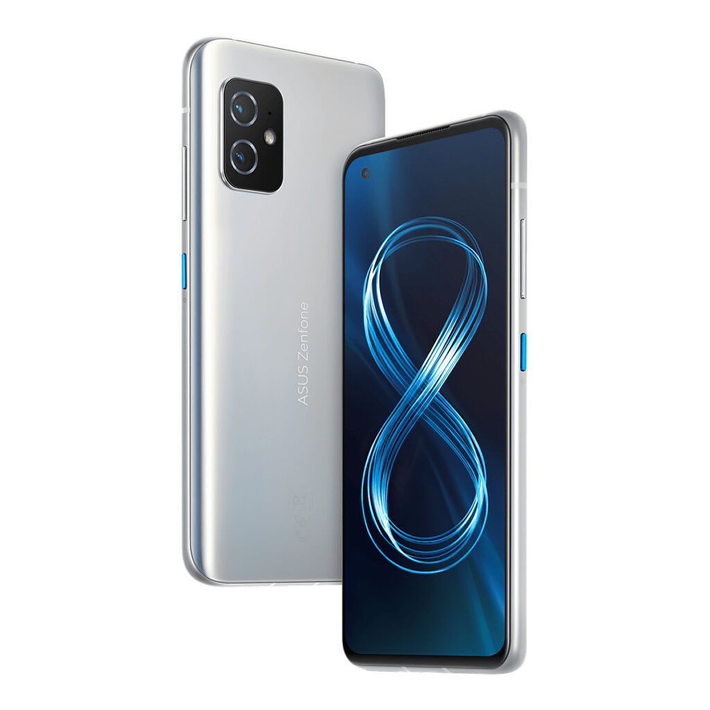 Horizon Silver ZenFone 8 with blue accent on power button